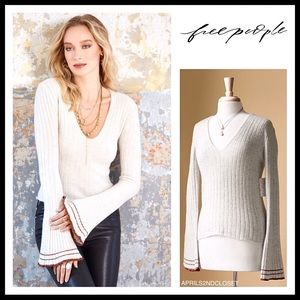 FREE PEOPLE BOHO V-NECK PULLOVER SWEATER A2C